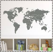 World Map Wall Decal With Countries Strangetowne World Map Wall Decal With Pins