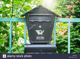 Mail Box On The Metal Fence By Private House Stock Photo Alamy