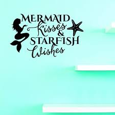 Custom Decals Mermaid Kisses Starfish Wishes Wall Art Size 14 X 28 Inches Color Black Walmart Com Walmart Com