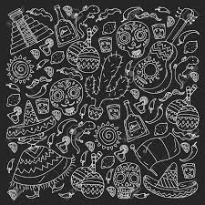 mexico vector set with ethnic elemets