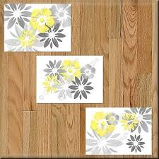 Yellow Gray Wall Art Picture Print Floral Bathroom Bedroom Decor Kitchen Nursery Ebay