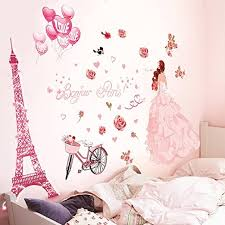 Amazon Com Iuhan Bonjour Paris Wall Sticker Lovely Sweet Girl With Rose Mural Decor Bedroom Home Sticker Wall Home Kitchen