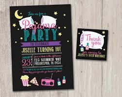 Pajama Party Invitation Slumber Party Invitation Favor Tags