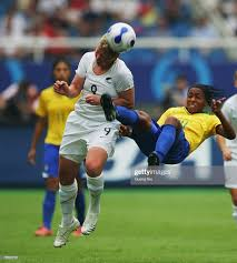 Wendi Henderson of New Zealand and Ester of Brazil fight for the ball...  News Photo - Getty Images