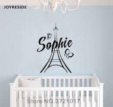 Joyreside Personalized Wall Paris Custom Name Decal Vinyl Sticker Decor Girls Room Bedroom Living Room Art Interior Murals A533 Wall Stickers Aliexpress