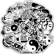 100 Pcs Black And White Sticker Cool Anime Decal For Bike Bumper Car Motorcycle Shopee Singapore