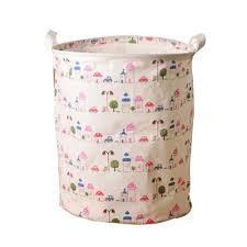 cotton linen laundry basket foldable