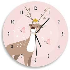 Amazon Com Kid O Design Studio Deer Wall Clock Decorative Kids Room Clock Battery Operated Wall Clocks Pale Blush Pink And White 10 62 Inches Handmade