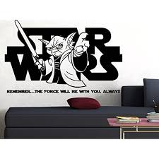 Star Wars Yoda The Force Is Strong Personalized Name Vinyl Wall Decal Sticker Children S Bedroom Words Phrases Decals Stickers Vinyl Art Home Garden Map India Org