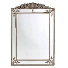 french crest mirror in antique silver