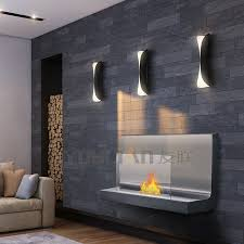 curve wall mounted ethanol fireplace in