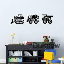 Construction Vehicles Vinyl Wall Art Sticker Dump Truck Bulldozer And Cement Truck Wall Decal Boys Room Mural Art Decals Decor Wall Stickers Aliexpress