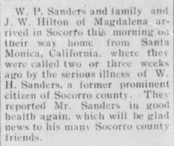 William Perry Sanders visits sick William H Sanders - Newspapers.com