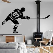 Personalized Hockey Player Wall Decal Stickers Custom Name Numbers Art Hockey Goal Vinyl Sticker Boy Kids Bedroom Decor Lc1071 Buy At The Price Of 10 25 In Aliexpress Com Imall Com