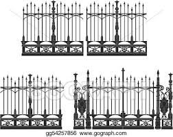 Vector Illustration Gate And Fence Eps Clipart Gg54257856 Gograph