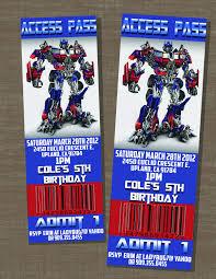 Transformers Birthday Optimus Prime Ticket Invite 10 00 Via