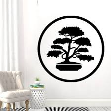 Bonsai Old Tree Inside Circle Silhouette Wall Decal Art Nature Trees And Flowers Home Living Room Decoration A001933 Wall Stickers Aliexpress