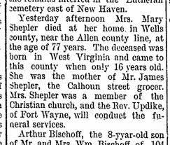 1894 Mary Polly Bell McBride Shepler death - Newspapers.com