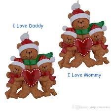 love daddy mommy bear family of 3 resin