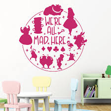 We Re All Mad Here Alice In Wonderland Story Book Quote Decal Wall Sticker Ebay