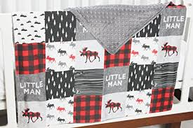 buffalo plaid moose 4 pc crib bedding
