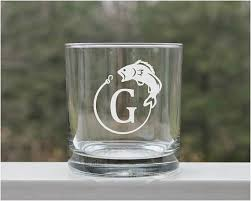 personalized whiskey glasses fishing
