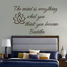 Amazon Com Buddha Wall Decal Vinyl Lotus Flower Wall Sticker Yoga Wall Quote Wall Graphic Mural Home Art Decoration Black Home Kitchen