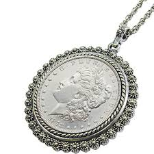 silvertone morgan silver dollar pendant