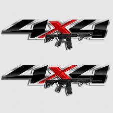 Ar 15 Silverado Assault Rifle Truck Decals Sierra Gmc Chevy Gun Sticker