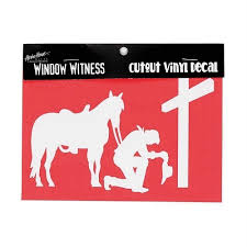 Praying Cowboy At Cross With Horse Auto Window Decal Ss 7024