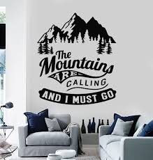 Vinyl Wall Decal Mountains Camping Phrase Quote Nature Adventure Stick Wallstickers4you