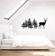 Vinyl Wall Decal Trees Deer Nature Decor Hunting Art Living Room Home Wallstickers4you