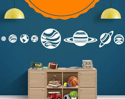 Planets And Sun Solar System Milky Way Space Vinyl Wall Decal Boy Girl Bedroom Nursery Playroo Solar System Wall Decal Solar System Decal Solar System Room
