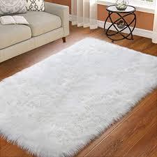 Amazon Com St Bridge Faux Fur Rugs Super Soft Fluffy Sheepskin Rug Modern Indoor Home Living Room Floor Carpet Furry Bedside Rugs For Bedroom Kids Room Living Room White 3 X 5 Feet