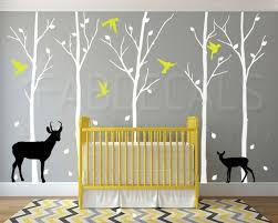 Winter Trees Wall Decal Deer Wall Decal Bird Decals Nursery Etsy