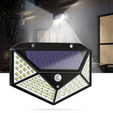 100 led solar powered garden lamp black