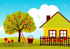 Apple Tree And Cottage With Picket Fence Royalty Free Cliparts Vectors And Stock Illustration Image 12492044