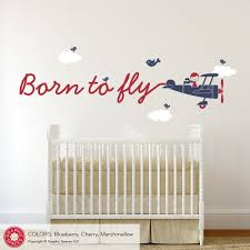 Born To Fly Airplane Skywriter Wall Decal Baby Nursery Kids Travel Graphic Spaces