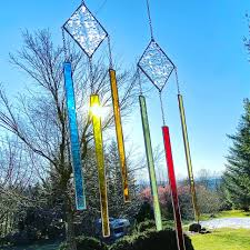 diamond stripe stained glass wind chime