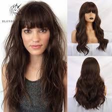 شقراء يونيكورن الاصطناعية الطبيعية موجة الشعر الطويل بني داكن شعر