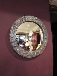 arts crafts pewter convex wall mirror