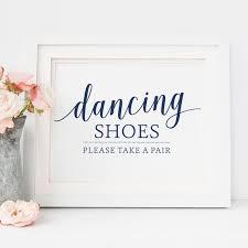 dancing shoes sign navy wedding flip