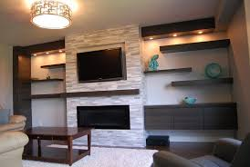 low profile fireplace with tv above