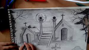 Easy Cemetery Graveyard Drawing Drawing Art Ideas