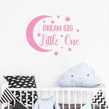 Dream Big Little One Wall Decal Moon And Stars Removable Baby Girl Boy Nursery Wall Stickers Childrens Room Decor Wallpaper Z393 Wall Stickers Aliexpress