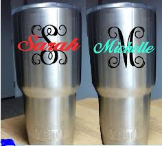 Diy Monogram Name Decal For Yeti Rambler Colster Monogram Initial And Name Tumblr Decal Tumbler Decals Monogram Diy Monogram Cricut Monogram Cricut Vinyl