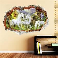 Forest Unicorn Wall Sticker For Kids Room Children Horse Head Bedroom Living Room Decor 3d Effect Wall Decals Art Mural Gift Large Wall Art Stickers Large Wall Decal From Totwo3 6 73 Dhgate Com
