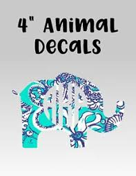 Animal Decal With Monogram For Tumbler Car Notebook Fox Owl Elephant Pig Ebay