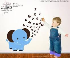 Elephant With Abc Wall Decal Alphabet Wall Decal
