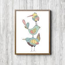 Bird Nursery Wall Art Print Kids Room Wall Decor Three Etsy